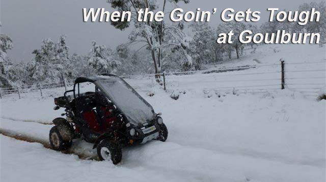 When the Going gets tough - Twister in the snow at Goulburn Off Road Carts.